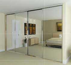 Interior:Interesting Bedroom Design With Large Mirrored Closet Doors And  Wooden Shelves Idea Interesting Bedroom