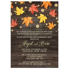 Fall Invitation Housewarming Invitations Falling Leaves With Gold Autumn