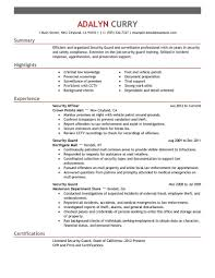 Security Resumeupervisor Cover Letter Professional Objective