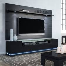 manhattan comfort 2 1755382353 vanderbilt tv stand and cabrini 2 2 floating wall tv panel with led lights in black gloss and black matte