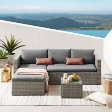 3 piece patio furniture rattan corner