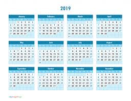 Yearly Calendar 2019 Printable Full Year Calendar 2019