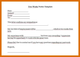 Writing Two Weeks Notice 5 6 Writing A Two Weeks Notice Letter Sample Formatmemo