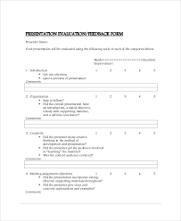 presentation survey examples presentation feedback form templates sample presentation survey