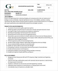 structural engineer job description structural engineer job description sample 9 examples in word pdf