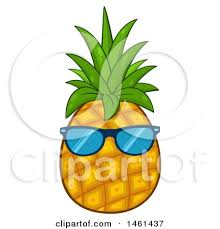 pineapple with sunglasses clipart. clipart of a pineapple wearing sunglasses - royalty free vector illustration by hit toon with