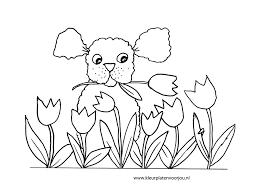 Moederdag Kleurplaat Hondje Met Tulpen Kleurplaat Kleurplaten Voor Jou