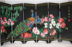 Small Picture Peacock Wood Lacquer Screen Chinese Ethnic Screen 6 Flap Home