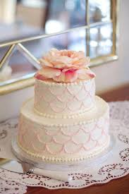 Buttercream Frosted Two Tier Cake Scalloped Detail With A Silk