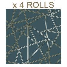 teal green wallpaper gold tiled 3d geometric pattern luxury paper bulk 4 rolls