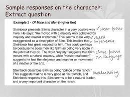 of mice and men revision slim sample responses on the character extract question