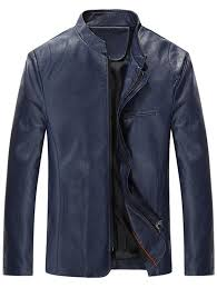 outfit grandad collar full zip faux leather jacket