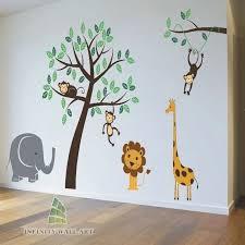 nursery wall stickers intended for nursery wall stickers animal jungle safari tree kids family wall art