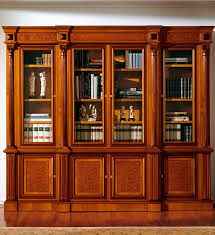 classic bookcase wooden glass front 336