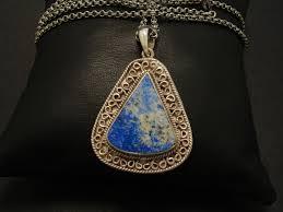 triangular lapis lazuli hmade silver pendant 01614 jpg