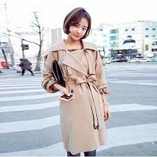 fashion women silm waist outerwear loose clothes trench coat khaki