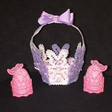 Free Standing Lace Easter Designs Free Standing Lace Bunny Basket And Egg Holders My Diys