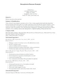 Receptionist Responsibilities Resume Sample Duties Of A For Front Simple Resume Examples For Receptionist Job