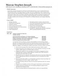 Professional Resume Summary For Human Resource General Sevte