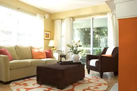Orange and Green Living Room contemporary-living-room