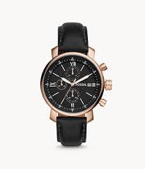 Rhett Chronograph Black Leather Watch - BQ1008 - Fossil