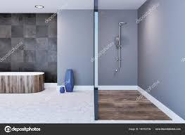 Graue Badezimmer Interieur Dusche Und Badewanne Stockfoto