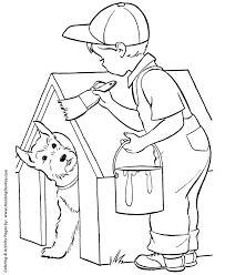 painting coloring pages. Perfect Pages Dog House Painting  Coloring Page Intended Pages T