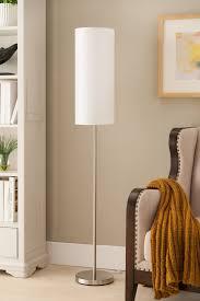modern floor lighting. Maylee Brushed Nickel With White Cylinder Fabric Shade Modern Floor Standing Lamp (For Bedroom, Lighting