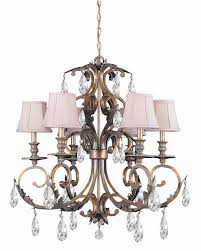 6 lights hand cut crystal wrought iron chandelier