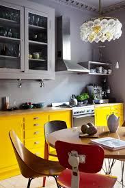 Yellow And Grey Kitchen Fascinating Yellow Kitchen Cabinet Storages With Grey Kitchen Wall