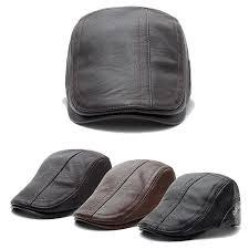 Casual <b>British</b> Retro Flat Cap Autumn Winter <b>Men</b> PU Leather <b>Solid</b> ...