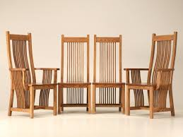 set of four vintage american oak mission style dining chairs