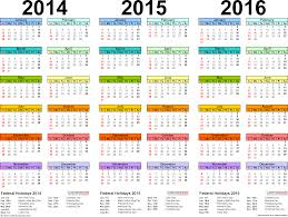 Editable 2015 2020 Calendar 2014 2016 Three Year Calendar Free Printable Excel Templates