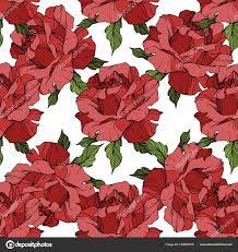Rode Rozen Gegraveerde Inkt Art Naadloze Achtergrondpatroon