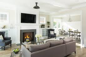 living room with built in frosted glass cabinets