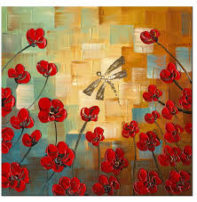dragonfly modern canvas art wall decor fl oil painting wall art stretched frame ready