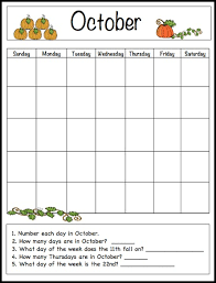 Small Picture October Learning Calendar Template for Kids Free Printable Free
