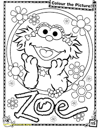 Sesame Street Coloring Pages Getcoloringpages Books Stuning Zoe Book