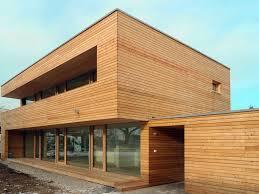 Einfamilienhaus Modern Holzhaus Flachdach Holzfassade Holzterrasse