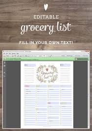 grocery list template printable free editable grocery list printable pdf