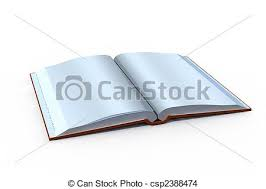 isolated open book with blank pages csp2388474