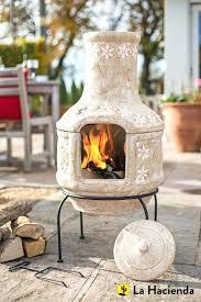 ceramic chiminea outdoor fireplace la hacienda daisy chain two piece clay patio heater large clay chiminea