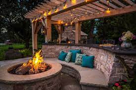 Outdoor Stone Kitchen Design With Pool Patio And Firepit