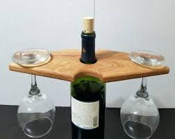 wooden wine glass holder wood under cabinet rack fused bottle