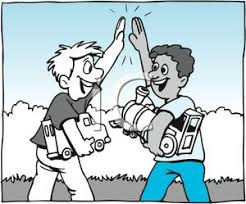 high five clipart. two boys playing and giving each other a high five - royalty free clipart picture