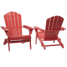 hampton bay chili red folding outdoor adirondack chair 2 pack