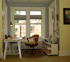 eclectic home office. Eclectic Home Office Plus Baseboard With Bay Window And Blue Wall Also Storage White Desk Wood Swivel Chair On Round Rug Reading Lamp For