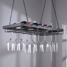 metal hanging bottle stemware rack keep bottles of wine and glasses in easy reach and free of dust display your stems in rustic style above a tasting