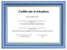 Pet Adoption Certificate Template 40 Adoption Certificate Template Pdf Word 2019 Excelshe