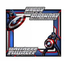 happy birthday captain america theme frame medium size